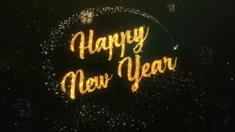 Happy New Year Greeting Text Made from Sparklers Light Colorfull Firework Animation
