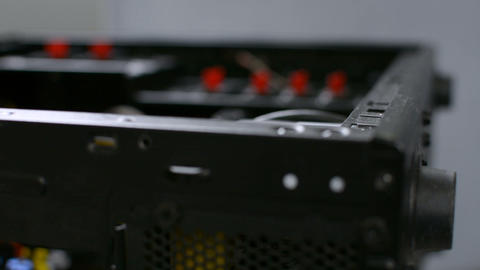 Focus rack on black PC personal computer case closeup Footage