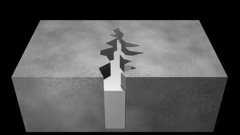 [alt video] Crack repair in ground. 3d animation. Horizontal view