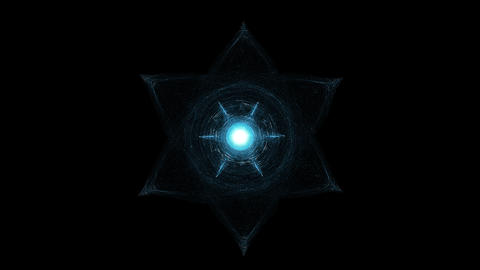 Light Beams Moving Around Glowing Hexagram. Esoterica, Sacred Geometry And Animation