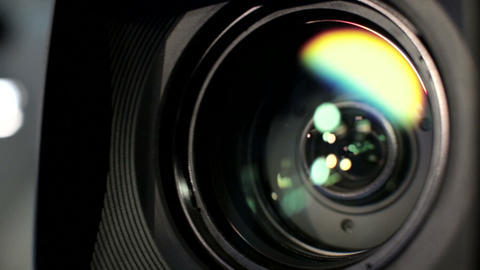 Cameraman controll camera lens on broadcast news show Footage