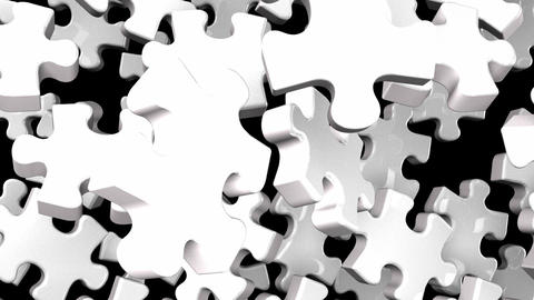 White Jigsaw Puzzle On Black Background CG動画