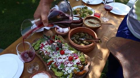 Tasting food wine fresh salad Footage