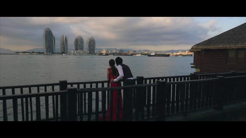 Couple love romance sea bay city Footage