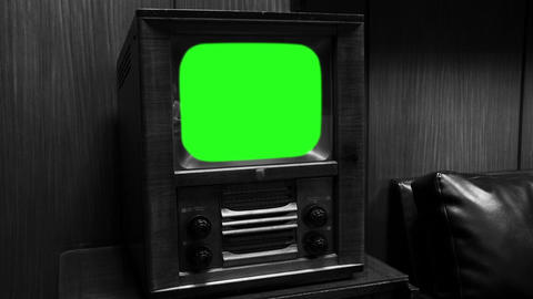 Vintage Television With Green Screen. Black and White Tone Live Action