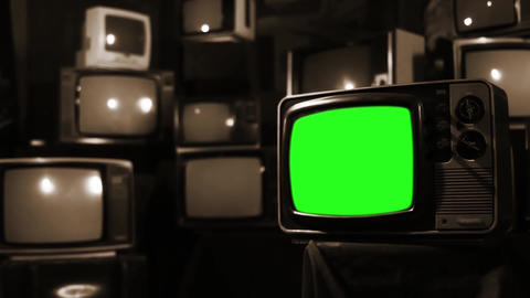 Vintage 80S Tv With Green Screen. Sepia Tone. Zoom In Live Action