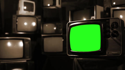 Vintage 80S Tv With Green Screen. Sepia Tone. Zoom Out Live Action
