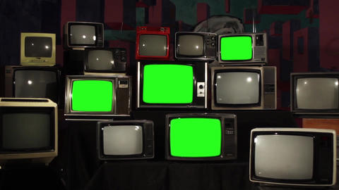 80S Televisions With Green Screens That Turn Off Live Action