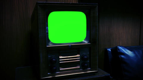 Vintage Television With Green Screen. Zoom In. Night Tone Live Action