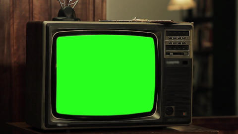 Old Tv Green Screen, Aesthetics of the 80s. Close-Up ライブ動画