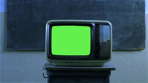 80s Television With Green Screen In A School. Night Tone GIF