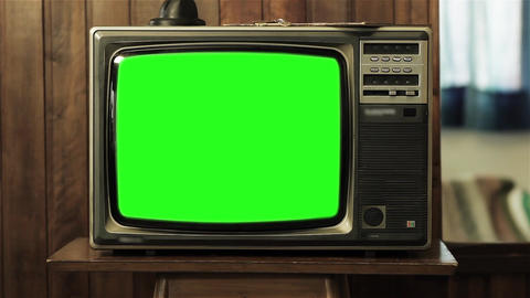 Old Tv Green Screen. Slow Zoom In Shot Footage