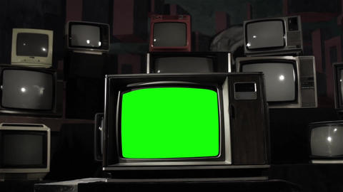 Old Television With Green Screen. Black And White Turns To Color Live Action