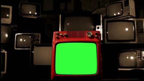 Old Red Tv Green Screen In The Middle Of Many Tvs. Bad Signal. Sepia Tone ライブ動画