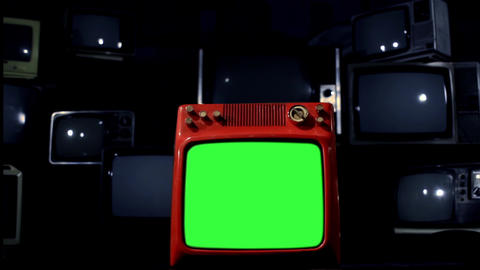 Old Red Tv Green Screen In The Middle Of Many Tvs. Bad Signal Background. Night ライブ動画