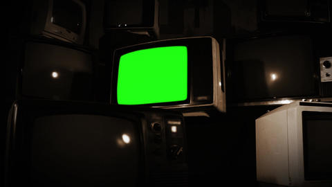 Old Tv Green Screen With Many Tvs. Sepia Tone. Zooming In Fast Live Action