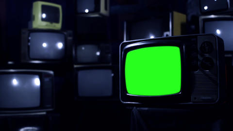 Vintage 80S Tv With Green Screen. Blue Steel Tone. Zoom In Live Action