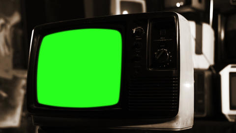 Old Tv With Green Screen. Sepia Shot. Zoom Out Live Action
