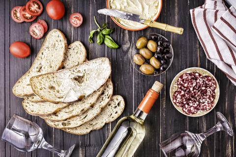 Italian snack, Wine snack set. salami, ciabatta. olives, Traditional フォト