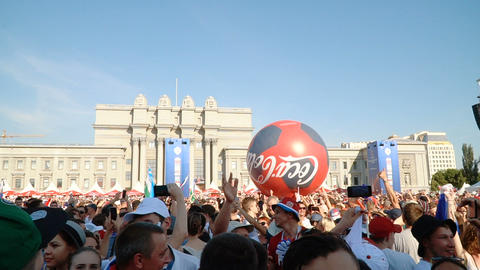 Football fans at the official FIFA FAN FEST zone Footage