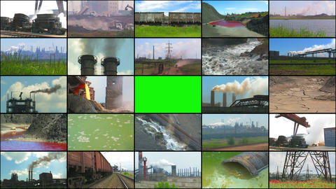 Media Wall: Industry and Pollution Stock Video Footage