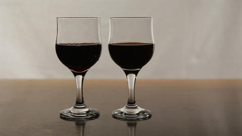 Two glasses with red wine Footage