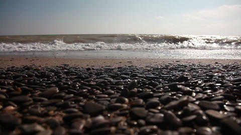 Pebble Beach And Waves stock footage