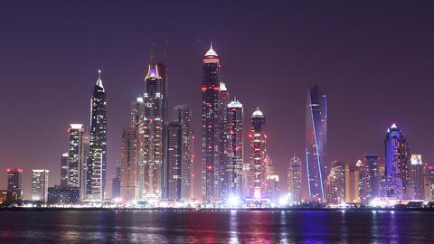 night light dubai marina panoramic time lapse from uae Footage