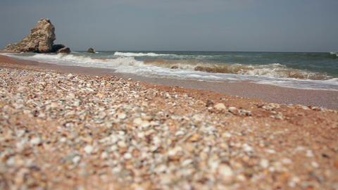 Pebble Beach Of The Black Sea Footage