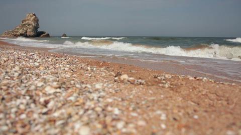 Pebble Beach of the Black Sea. Slider Shot Footage