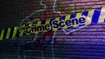 The Crime Scene - Crime Scene Tape Logo Stinger stock footage