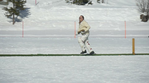 cricket on ice run slow motion Live Action