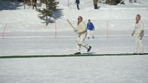 cricket on ice run slow motion Footage