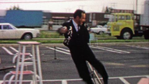 1967: Flashy unicycle performer shows off his entertainment skills Footage