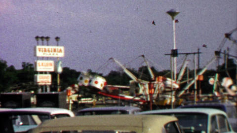 1967: Virginia Plaza hosts traveling carnival circus amusement rides Live Action