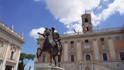 Bronze statue of Emperor Marcus Aurelius on horse on Capitol Hill in Rome, Italy Footage
