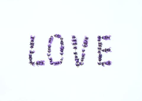 Letters of love from fresh lavender flower Photo