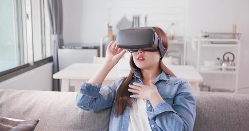 woman wear virtual reality headset Live Action