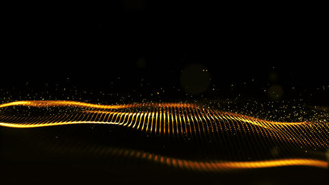 Digital abstract gold color wave particles flow motion background Animation