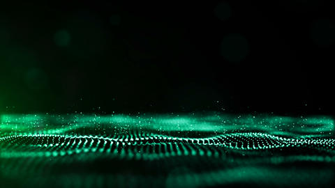 Abstract green color digital particles wave environment motion background Animation