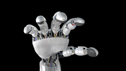 Robotic Hand on a Black Background Animation