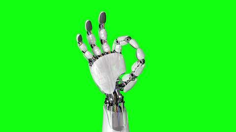Robotic Hand Shows Okay Sign on a Green Background Animation