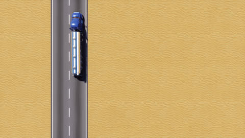 Oil tank truck on desert road aerial top view 3D GIF