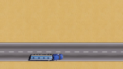 Oil truck on desert road top view copy space 3D Animation