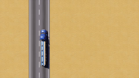 Gasoline truck on desert road top view 3D Animation