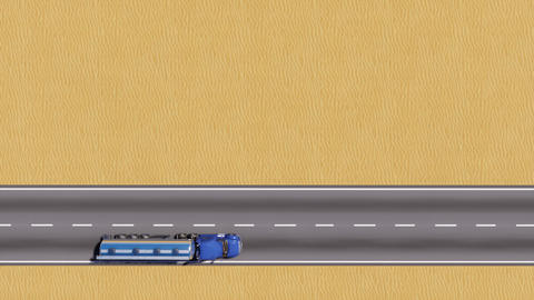 Tanker truck on desert road top view copy space Animation