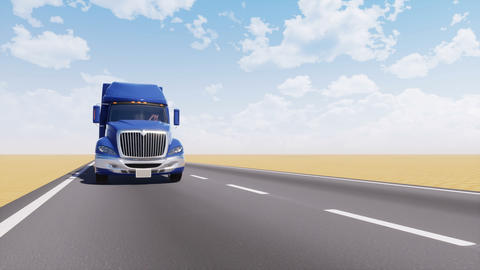 Freight truck on empty desert road 3D animation Animation