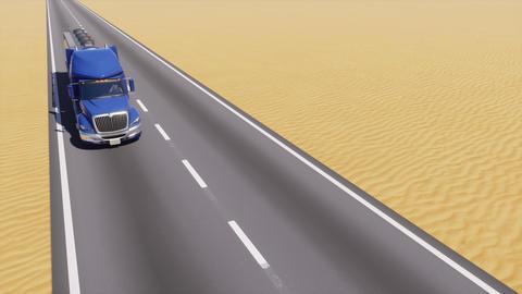 Oil tanker truck on road among abstract desert Animation