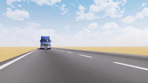 Freight truck driving on empty desert road 3D Animation