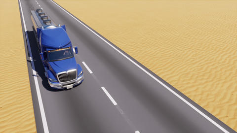 Oil truck on empty road among abstract desert 3D Animation